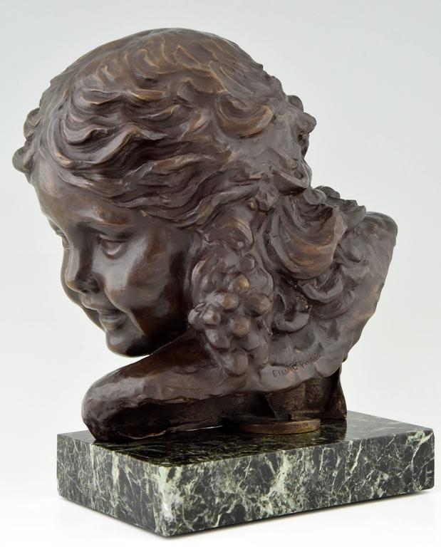Art Deco Bronze Bust of a Girl by Alexandre Kelety, 1930 France In Excellent Condition For Sale In Antwerp, BE