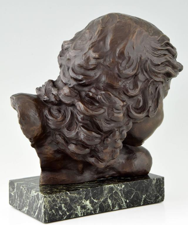 20th Century Art Deco Bronze Bust of a Girl by Alexandre Kelety, 1930 France For Sale