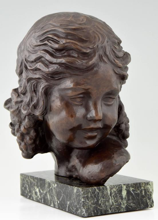 French Art Deco Bronze Bust of a Girl by Alexandre Kelety, 1930 France For Sale