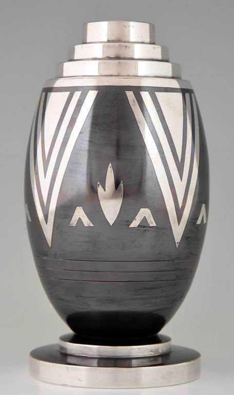 Art Deco Dinanderie Vase Stylized Geometric Design Luc Lanel For