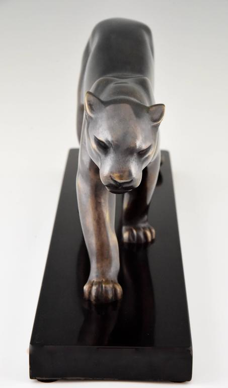 French Art Deco Sculpture of a Walking Panther, Emile Louis Bracquemond, 1930 In Good Condition In Antwerp, BE