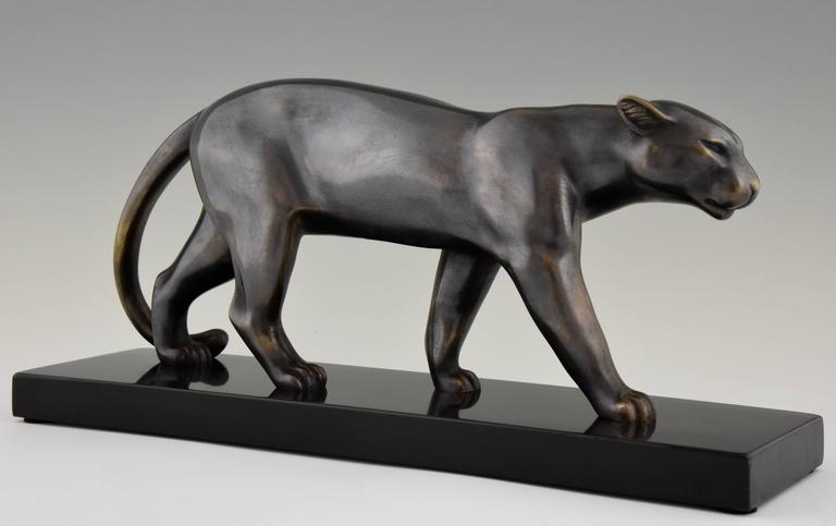 20th Century French Art Deco Sculpture of a Walking Panther, Emile Louis Bracquemond, 1930