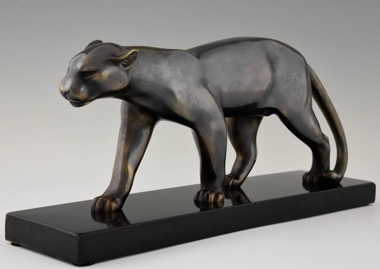 Patinated French Art Deco Sculpture of a Walking Panther, Emile Louis Bracquemond, 1930