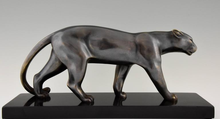 French Art Deco Sculpture of a Walking Panther, Emile Louis Bracquemond, 1930 1