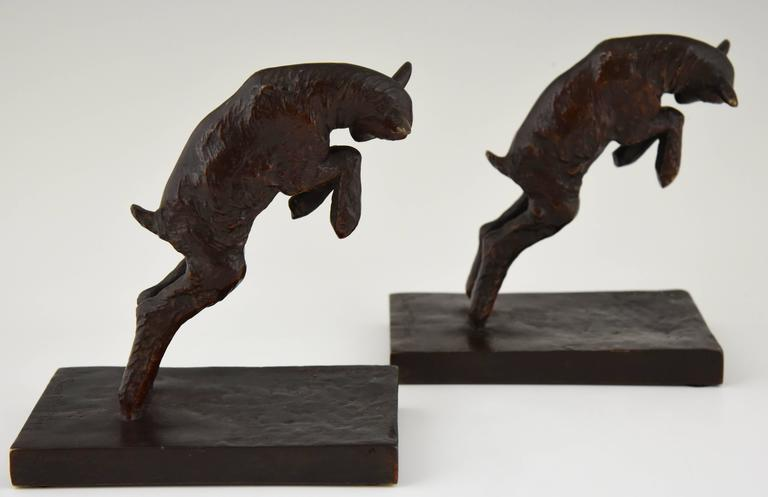20th Century Art Deco Bronze Lamb Bookends by Paul Silvestre, 1930 France For Sale