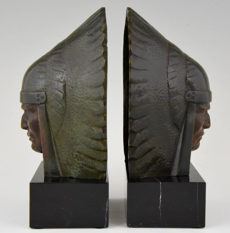French Art Deco Bronze Indian Head Bookends Georges Garreau, 1930 4