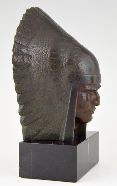 French Art Deco Bronze Indian Head Bookends Georges Garreau, 1930 8