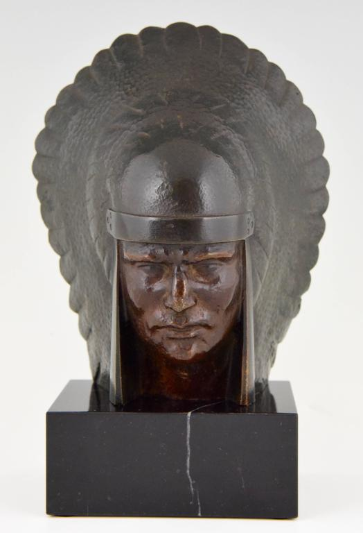 French Art Deco Bronze Indian Head Bookends Georges Garreau, 1930 9