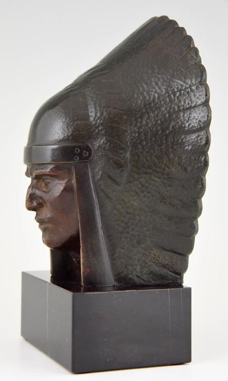 French Art Deco Bronze Indian Head Bookends Georges Garreau, 1930 7