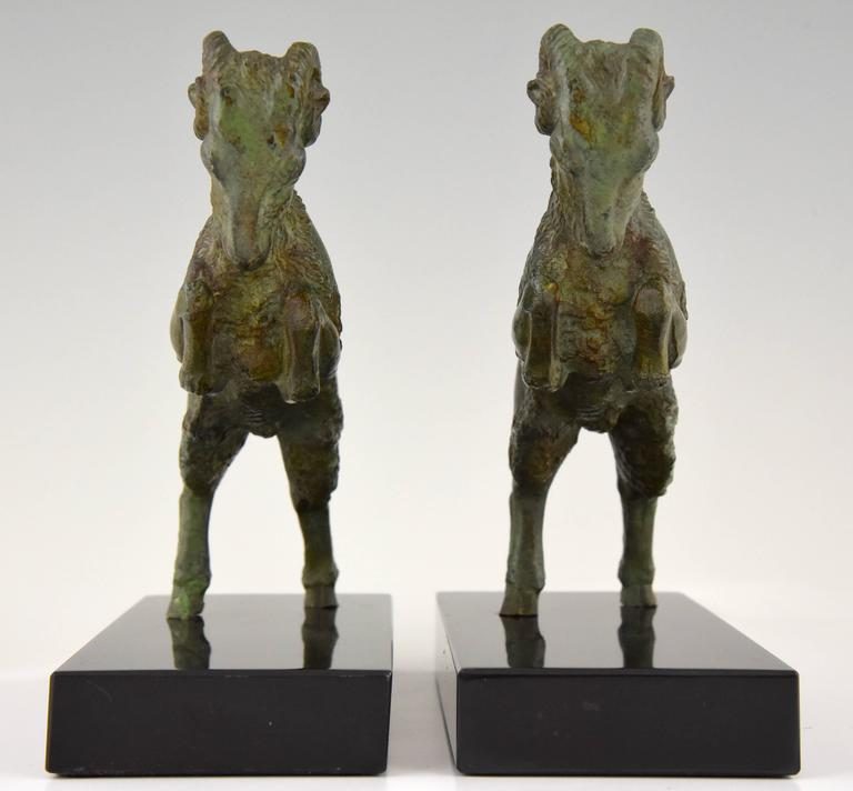 Patinated Art Deco Bronze Ram Bookends on Marble Base Signed Scribe, 1930 France For Sale