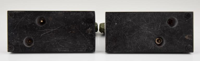 Art Deco Bronze Ram Bookends on Marble Base Signed Scribe, 1930 France For Sale 3