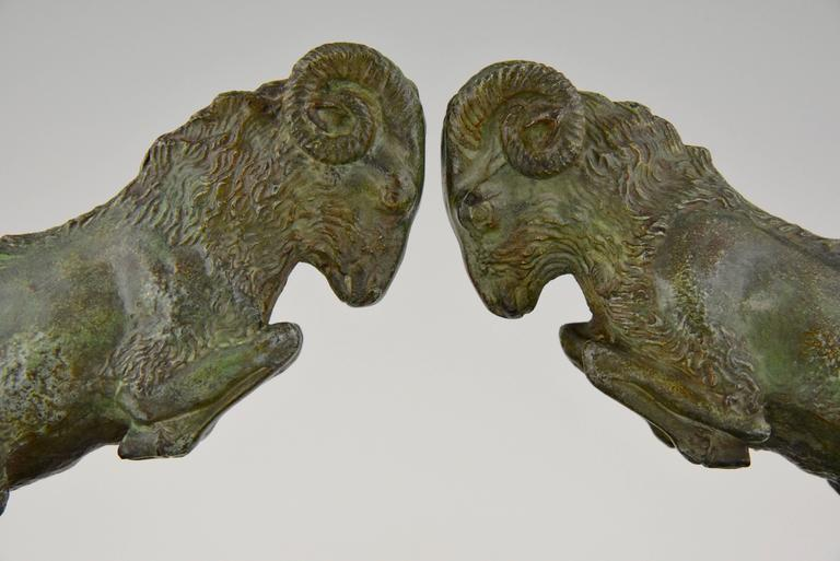 Art Deco Bronze Ram Bookends on Marble Base Signed Scribe, 1930 France For Sale 2