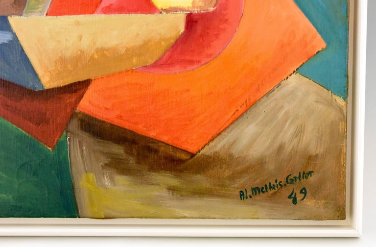 French midcentury painting, colorful landscape with reclining woman under a tree. Signature / marks: Alain Mettais Cartier. Style: Mid-Century Modern Date: 1949 Material: Oil on canvas. Contemporary frame. Origin: France Size:  CM H. 55 cm x L. 70
