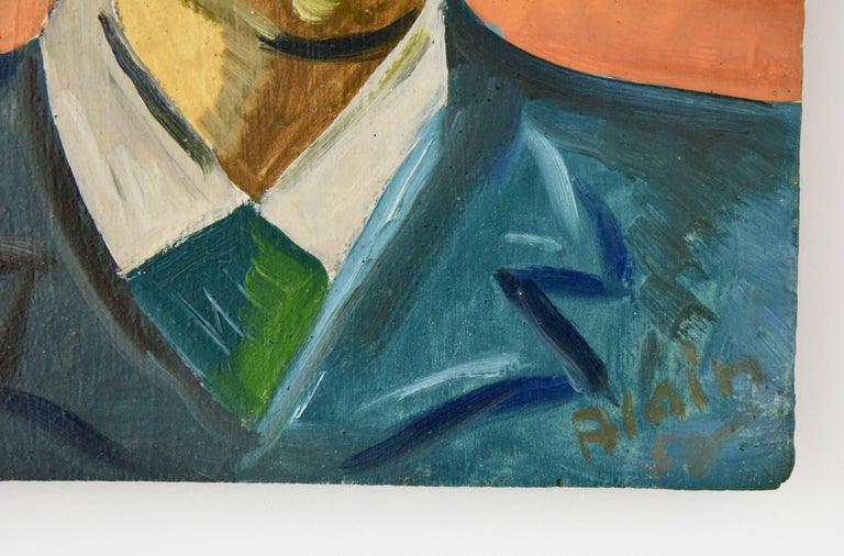 Painting, two male portraits. Artist/ Maker: Alain Mettais Cartier Signature/ Marks: Alain Style: Mid-Century Modern Date: 1950 Material: Oil on panel.? Contemporary frame. Origin: France Size: H. 50 cm x L. 71 cm.? Framed  H. 19.7 inch x L.