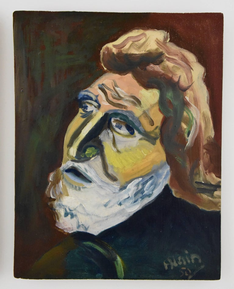 Painting Two Male Portraits in One Frame by Alain Mettais Cartier, 1950 France In Good Condition For Sale In Antwerp, BE