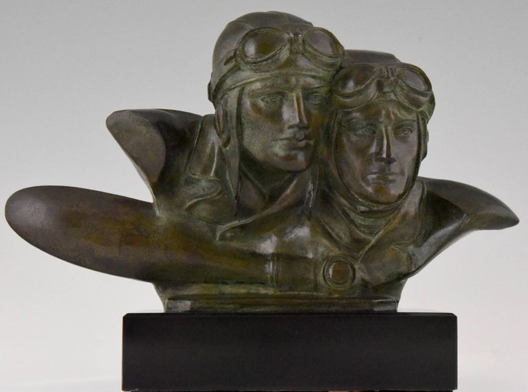 Hard to find Art Deco bronze bust of Costes and Bellonte.