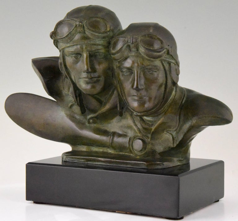 French Art Deco Bronze Sculpture Bust of Two Pilots Aviators Costes and Bellonte France For Sale