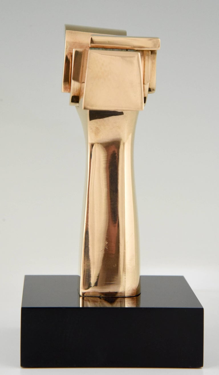 Spanish Mid-Century Modern Bronze Abstract Sculpture José Luiz Sanchez