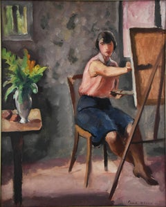 Art Deco Painting Woman Painter in an Interior by Picard Le Doux 1930 France