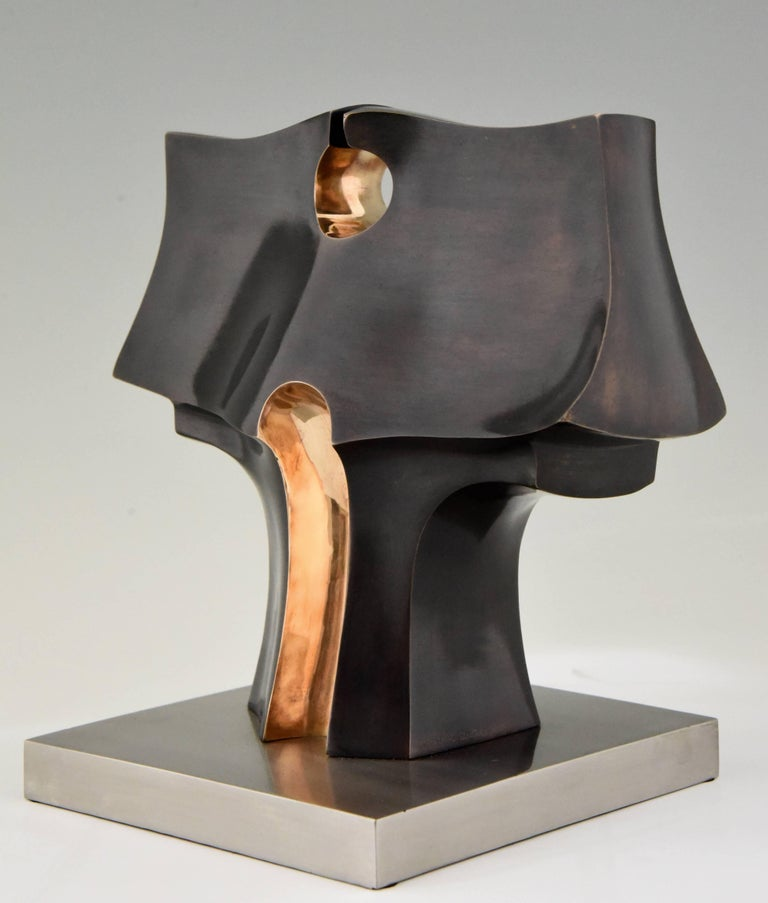 Spanish Deidad or Deity Bronze Abstract Sculpture by José Luiz Sanchez Signed Numbered  For Sale