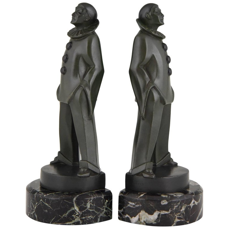 Art Deco Pierrot Bookends by Max Le Verrier, France, 1930