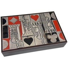 Ottaviani Card Playing Box 1960 Sterling Silver, Enamel and Wood Italy