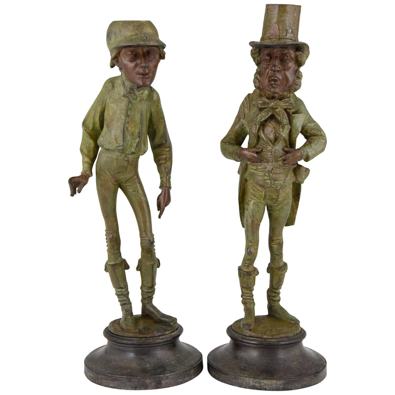 Pair of Figural Candlesticks Jockey and Gentleman  Emile Guillemin France 1900