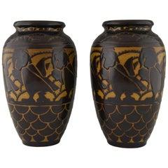 Pair of Art Deco Ceramic Vases with Birds Charles Catteau for Keramis, 1925