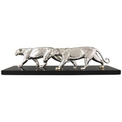 Art Deco Silvered Sculpture of Two Panthers by Alexandre Ouline, France, 1930