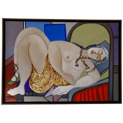 Painting of a Nude with Gold Skirt Holding Pink Letter by Dominique Péry France