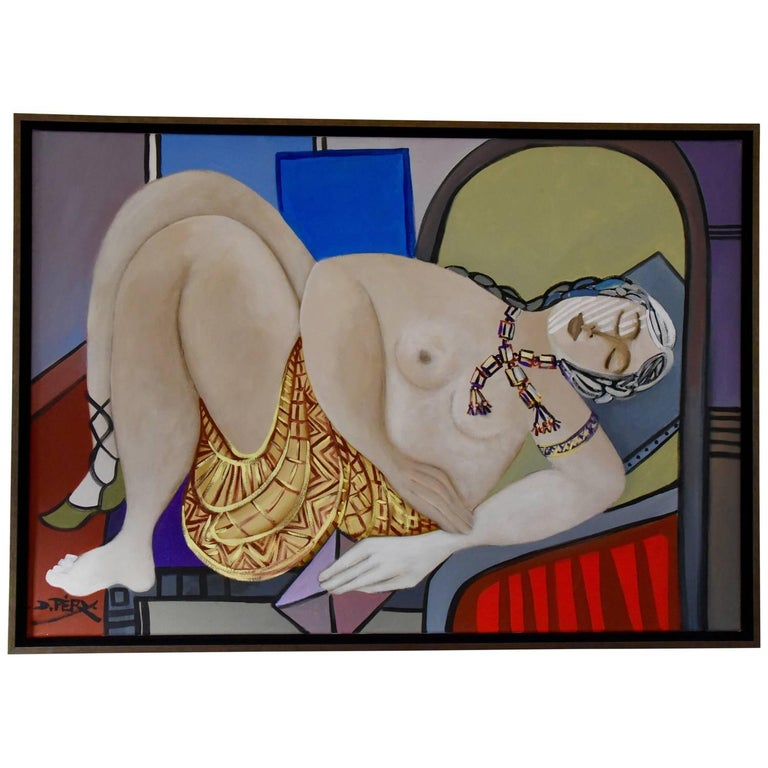 Painting of a Nude with Gold Skirt Holding Pink Letter by Dominique Péry France For Sale