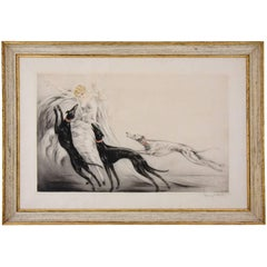 Coursing, Art Deco Etching Elegant Lady with Grey Hound Dogs by Louis Icart 1929