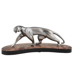 Art Deco Nickel-Plated Bronze Panther Marble Base by Michel Decoux, France, 1930