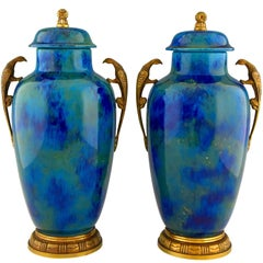 Pair of Art Deco Blue Ceramic and Bronze Vases Paul Milet for Sèvres France 1925