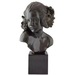 Art Deco Bronze Bust of a Female Satyr Maxime Real del Sarte France, 1921