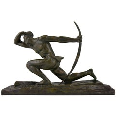 Art Deco Bronze Sculpture of a Male Archer by Pierre Le Faguays, France 1930