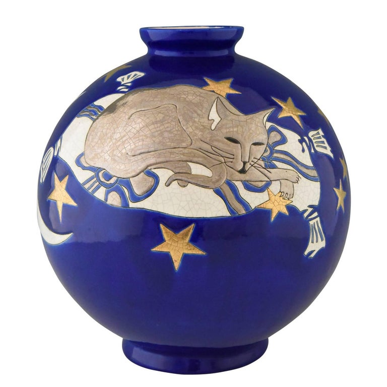 Large Blue Boule Vase with Cat and Stars by Danillo Curetti for Longwy, Yonji