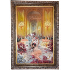 Art Deco Pastel Painting Nightclub Scene with Nude Casimir Brau, France, 1920