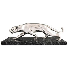 Art Deco Silvered Bronze Panther Salvatore Melani, France, 1930
