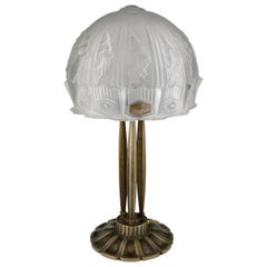 Art Deco Glass and Bronze Desk or Table Lamp RM, France, 1930