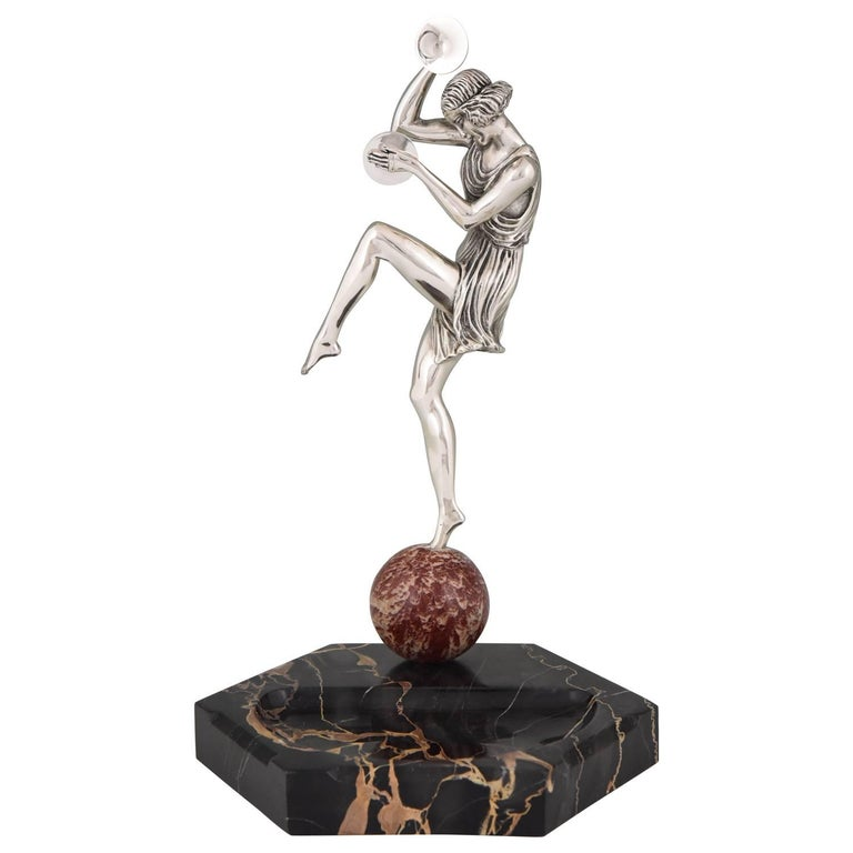 Art Deco Silvered Bronze Cymbal Dancer on Marble Tray by Pierre Le Faguays, 1930