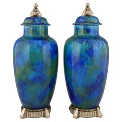 Art Deco Pair of Ceramic Vases-Urns with Blue Glaze 