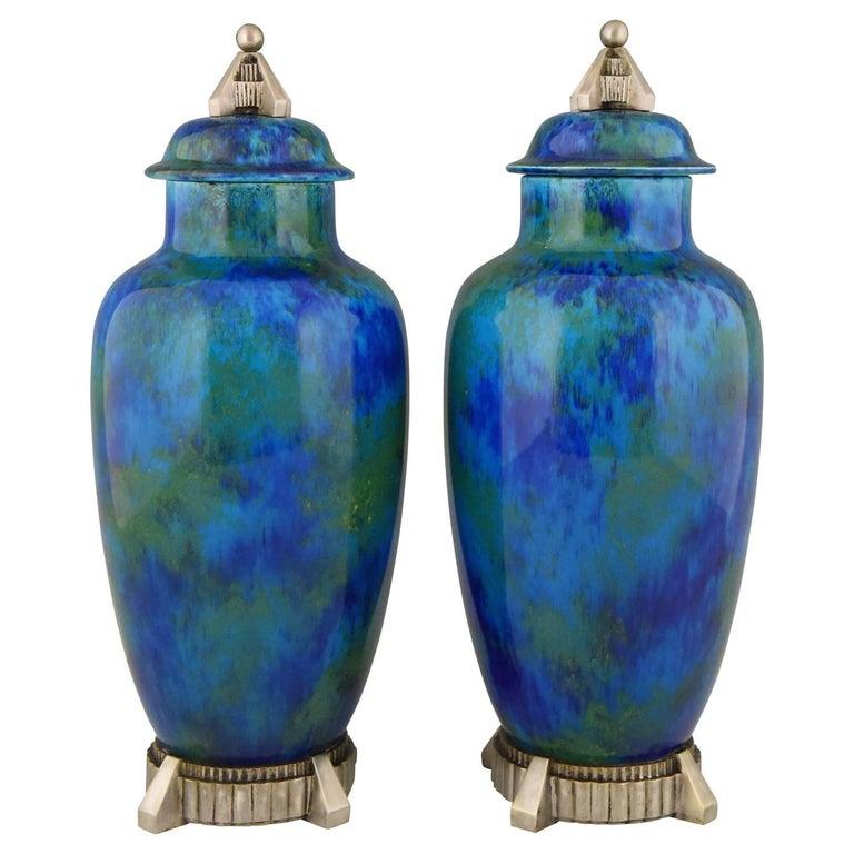 Art Deco Pair of Ceramic Vases-Urns with Blue Glaze Paul Milet for Sèvres, 1925