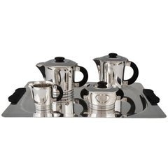 Art Deco Silvered Tea and Coffee, Set of Five Pieces, Ercuis, France, 1925