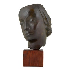 Art Deco Bronze Sculpture of a Woman's Face Francisque Lapandery, 1925
