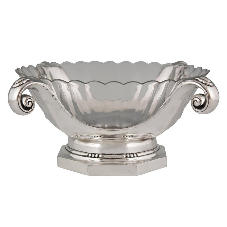 Art Deco Silver Plated Centrepiece or Fruit Dish Gallia, Christofle Sue & Mare For Sale
