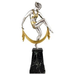 Art Deco Silvered Bronze Sculpture of Scarf Dancer Raymonde Guerbe, 1925