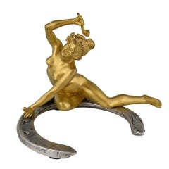 Art Nouveau Bronze Nude on a Horseshoe Georges Récipon, France, 1896