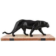 Art Deco Black Panther Sculpture Rulas, France, circa 1925