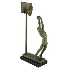 Art Deco Bronze Sculpture Basketball Player Reverse Dunk G. E. Mardini, France